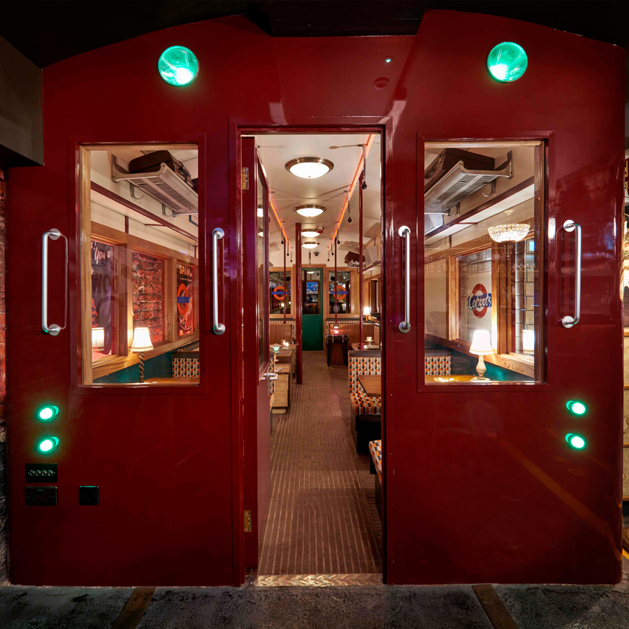 Interior shot of the tube carriage at Cahoots